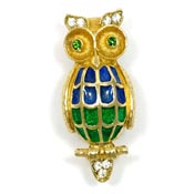 Blue And Green Enamel Rhinestone Owl Pin By Florenza