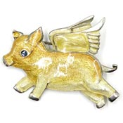 Adorable Enameled Flying Pig Pin