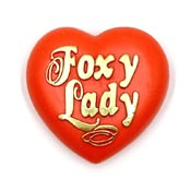 Vintage Foxy Lady Heart Pin By American Greetings 1980's NOS
