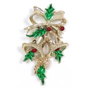 Vintage Christmas Bells And Holly Pin By Gerrys
