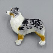 Hand Painted Australian Shepherd Dog Pewter Pin By GG Harris