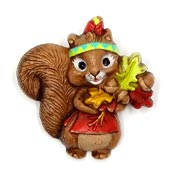 Thanksgiving Girl Squirrel Pin By Hallmark 1987