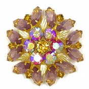 Hot Pink Lavender And Gold Leaves Rhinestone Pin