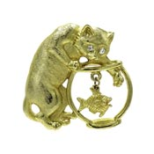 Vintage Cat Reaching Into A Goldfish Bowl Pin