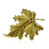 Vintage Trifari Gold Maple Leaf Pin Crown Mark