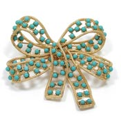 Vintage Big Gold And Turquoise Ballotini 3D Bow Pin