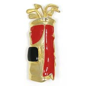 Vintage Goldtone Golf Bag With Clubs Pin