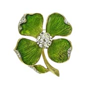 Vintage Enameled Green Dogwood Flower With Rhinestones Pin