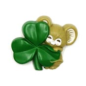 Vintage Hallmark Mouse And Shamrock Pin