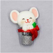 Vintage Hallmark Christmas Mouse In A Thimble Pin 1983