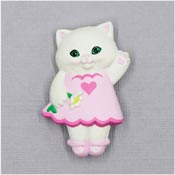 Vintage Hallmark Girl Kitty Valentines Pin 1991