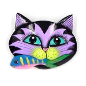 Adorable Hand Painted Carved Cat With Fish Face Pin