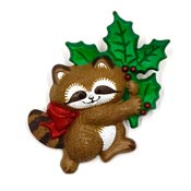 Vintage Hallmark Christmas Raccoon  Pin 1986