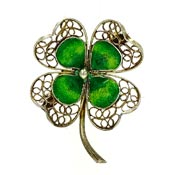 Vintage 800 Silver Filigree Enameled Four Leaf Clover Pin Italy