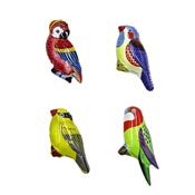 Set Of Four Tin Lithograph Bird Pins Japan 1960's