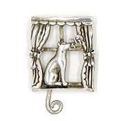 Rare Jezlaine Sterling Kitty With Moveable Tail In Window Pin