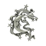 Vintage Pewter Celestial Man In The Moon Pin By JJ