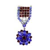 Juliana D&E Patriotic Rhinestone Medal Style Pin Verified