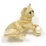 Vintage Cat With Green Eyes And Pearl Pin