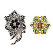 Liz Claiborne Autumn Flower Pin And Black Pin Pendant Lot