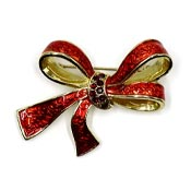 Red Rhinestone And Enamel Bow Pin By Liz Claiborn