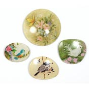 Vintage Four Decoupage Flower And Bird Eyeglass Lens Pins