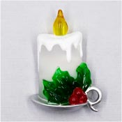 Light Up Christmas Candle Pin