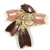 Lisner Brown Thermoplastic Flowers And Leaves Pin Vintage
