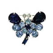 Little Blue Rhinestone Butterfly Pin Vintage