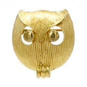 Vintage Trifari Gold Owl Pin Crown Mark