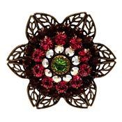 Liz Palacios Rhinestone Filigree Flower Pin