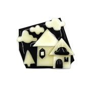 Lucinda Black And Cream House Pin With Clouds And Tree
