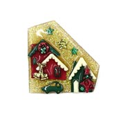 Lucinda Christmas House Pin Gold Glitter Ice Skates Car Wreath And Decorated Tree
