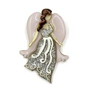 Lucinda Silver And Lavender Brunette Angel Pin