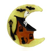 Lucinda Haunted House With Moon Halloween Pin