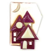 Lucinda Rose Gold Maroon House Pin