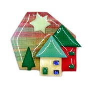 Lucinda Christmas Colors House Pin