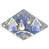 Lucinda Winter Snowman And Houses Pin