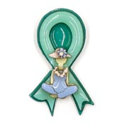 Hard To Find Lucinda Teal Ribbon Lady Pin