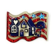 Lucinda Patriotic Waving Flag House Pin