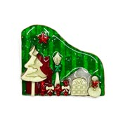 Lucinda Christmas House Pin With Snowman And Decorations