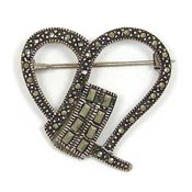 Vintage Marcasite Sterling Heart Pin