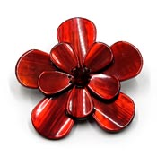 Large Maroon Resin Flower Pin