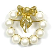 Marvella Pearl And Gold Bow Wreath Pin
