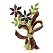 Monet Rhinestone Flower And Enamel Bouquet Pin