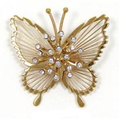 Vintage Monet Crystal Starburst Butterfly Pin