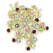 Coro Leaves Wisteria With Multi Colored Rhinestones Pin
