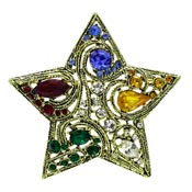 La Roco Multi Colored Rhinestone Star Pin Or Pendant