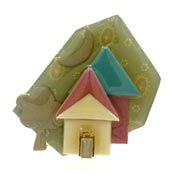 Lucinda Muted Colors House With Moon And Tree Pin