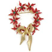 Vintage Christmas Poinsettia Wreath Pin By Mylu